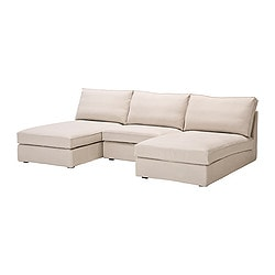 KIVIK 2 chaise longues and armchair, Ingebo light beige Max. width: 270 cm Min. depth: 98 cm Max. depth: 163 cm