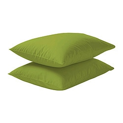 DVALA pillowcase, bright green Length: 50 cm Width: 80 cm Package quantity: 2 pack