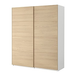 "PAX wardrobe with sliding doors, Malm white stained oak, white Width: 59 "" Depth: 17 1/8 "" Height: 93 1/8 "" Width: 150.0 cm Depth: 43.5 cm Height: 236.4 cm"