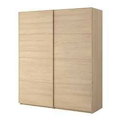 "PAX wardrobe with sliding doors, Malm white stained oak, white stained oak Width: 78 3/4 "" Depth: 26 "" Height: 93 1/8 "" Width: 200.0 cm Depth: 66.0 cm Height: 236.4 cm"
