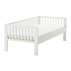 GULLIVER bed frame with slatted bed base, white Length: 165 cm Width: 76 cm Head/footboard height: 57 cm