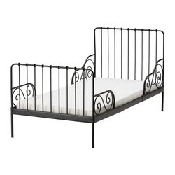 MINNEN ext bed frame with slatted bed base, black-brown Min. length: 125 cm Max. length: 195 cm Width: 97 cm