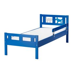 KRITTER bed frame with slatted bed base, blue Length: 165 cm Width: 75 cm Footboard height: 47 cm