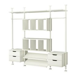 "STOLMEN 3 sections, white Width: 97 1/4 "" Depth: 19 5/8 "" Min. height: 82 5/8 "" Width: 247 cm Depth: 50 cm Min. height: 210 cm"