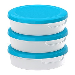 "JÄMKA food container, blue, transparent white Diameter: 5 ¼ "" Height: 1 ½ "" Volume: 10 oz Diameter: 13.5 cm Height: 4 cm Volume: 0.3 l"