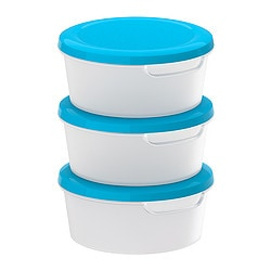 "JÄMKA food container, transparent white, blue Height: 2 ½ "" Diameter: 5 ½ "" Volume: 17 oz Height: 6.1 cm Diameter: 13.8 cm Volume: 0.5 l"