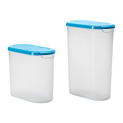 JÄMKA dry food jar with lid, set of 2, blue, transparent white Max. volume: 3.5 l Min. volume: 2.5 l