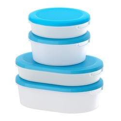 JÄMKA, Food container with lid, set of 4, transparent white, blue