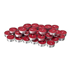 "GLIMMA unscented tealights, red Diameter: 1 ½ "" Burning time: 4 hr Package quantity: 48 pack Diameter: 38 mm Burning time: 4 hr Package quantity: 48 pack"