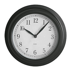 "DEKAD wall clock, black Depth: 1 ¾ "" Diameter: 8 ¾ "" Depth: 4.5 cm Diameter: 22 cm"