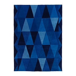 "IKEA STOCKHOLM TRIANGEL rug, low pile, blue Length: 7 ' 10 "" Width: 5 ' 7 "" Surface density: 14 oz/sq ft Length: 240 cm Width: 170 cm Surface density: 4150 g/m²"