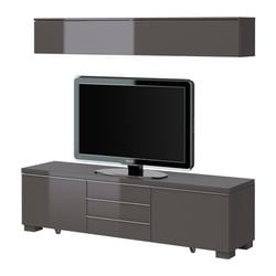 BESTÅ BURS TV storage combination, high-gloss grey Width: 180 cm Depth: 40 cm Height: 48 cm