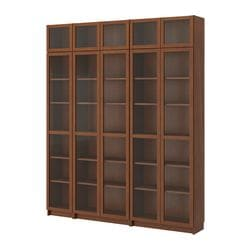 "BILLY bookcase with glass-door, medium brown Width: 78 3/4 "" Depth: 11 "" Height: 93 1/4 "" Width: 200 cm Depth: 28 cm Height: 237 cm"