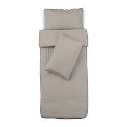 OFELIA VASS quilt cover and 2 pillowcases, beige Quilt cover length: 200 cm Quilt cover width: 150 cm Pillowcase length: 50 cm