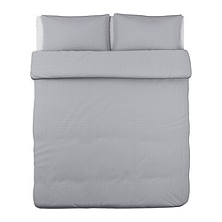 "OFELIA VASS duvet cover and pillowcase(s), gray Duvet cover length: 86 "" Duvet cover width: 102 "" Pillowcase length: 20 "" Duvet cover length: 218 cm Duvet cover width: 259 cm Pillowcase length: 51 cm"
