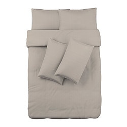 OFELIA VASS quilt cover and 4 pillowcases, beige Quilt cover length: 200 cm Quilt cover width: 200 cm Pillowcase length: 50 cm