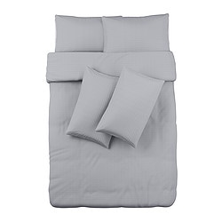 OFELIA VASS quilt cover and 4 pillowcases, grey Quilt cover length: 200 cm Quilt cover width: 200 cm Pillowcase length: 50 cm