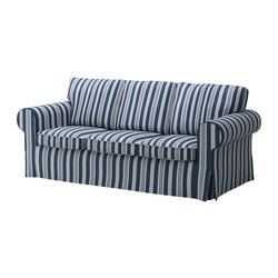 EKTORP MURBO three-seat sofa-bed, Åbyn blue Width: 221 cm Depth: 103 cm Height: 96 cm