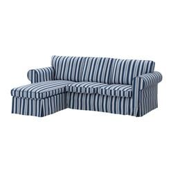 EKTORP two-seat sofa and chaise longue, Åbyn blue Width: 252 cm Min. depth: 88 cm Max. depth: 163 cm