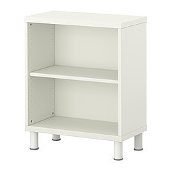 STUVA storage combination with shelf, white Width: 60 cm Depth: 30 cm Height: 75 cm