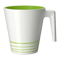 HURRIG mug, green, white Height: 9.5 cm Volume: 25 cl