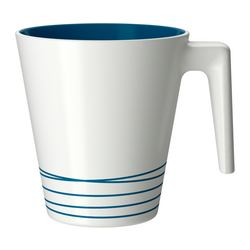 HURRIG mug, turquoise, white Height: 9.5 cm Volume: 25 cl