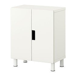 STUVA storage combination with doors, white, white Width: 60 cm Depth: 30 cm Height: 75 cm