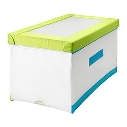 KUSINER box with lid, turquoise, white/green Length: 79 cm Width: 42 cm Height: 41 cm