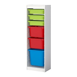 TROFAST storage combination with boxes, multicolour, white Width: 46 cm Depth: 30 cm Height: 145 cm