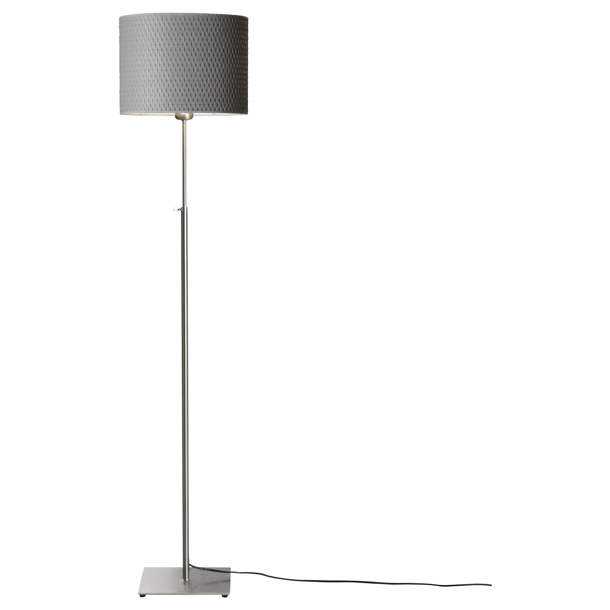 ALÄNG floor lamp with LED bulb, nickel plated, gray Width: 12