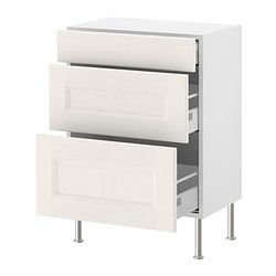 "AKURUM base cabinet with 3 drawers, Ramsjö white, birch Depth: 12 3/8 "" Depth: 31.5 cm"