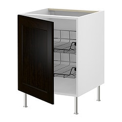 "AKURUM base cabinet with wire baskets, Ramsjö black-brown, white Width: 20 7/8 "" Depth: 24 1/8 "" Height: 30 3/8 "" Width: 53.1 cm Depth: 61.2 cm Height: 77.1 cm"