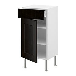 AKURUM base cabinet w shelf/drawer/door, Ramsjö black-brown, white