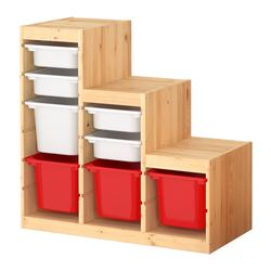 TROFAST storage combination, red, pine white Width: 94 cm Depth: 44 cm Height: 91 cm