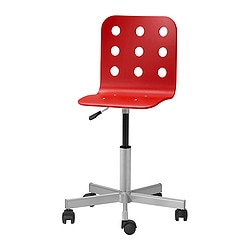 "JULES junior desk chair, red Tested for: 110 lb 4 oz Width: 19 5/8 "" Depth: 19 5/8 "" Tested for: 50 kg Width: 50 cm Depth: 50 cm"