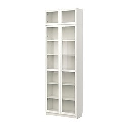 BILLY bookcase with glass door, white Width: 80 cm Depth: 28 cm Height: 237 cm