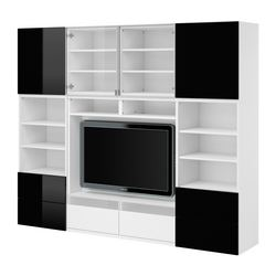 BESTÅ TV/storage combination, high-gloss black, white Width: 240 cm Depth: 40 cm Height: 192 cm