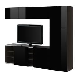 BESTÅ storage combination w sliding door, high-gloss black, black-brown Width: 240 cm Max. depth: 40 cm Height: 192 cm