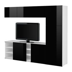 BESTÅ TV storage with sliding door, high-gloss black, white Width: 240 cm Depth: 40 cm Height: 192 cm