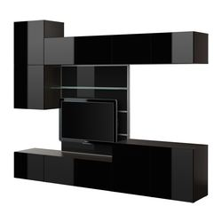 "BESTÅ TV panel with media storage, high gloss black, black-brown Width: 118 1/8 "" Depth: 15 3/4 "" Height: 90 1/2 "" Width: 300 cm Depth: 40 cm Height: 230 cm"