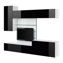 "BESTÅ TV panel with media storage, high gloss black, white Width: 118 1/8 "" Depth: 15 3/4 "" Height: 90 1/2 "" Width: 300 cm Depth: 40 cm Height: 230 cm"