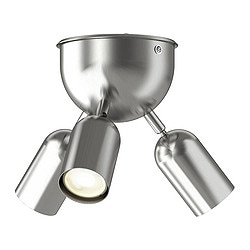 FARKOST ceiling spotlight with 3 spots, nickel-plated Max. diameter: 23 cm Min. diameter: 14 cm Height: 20 cm
