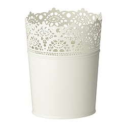 "SKURAR plant pot, off-white Outside diameter: 4 ¾ "" Max. diameter inner pot: 4 ¼ "" Height: 6 "" Outside diameter: 12 cm Max. diameter inner pot: 10.5 cm Height: 15 cm"