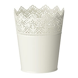 SKURAR plant pot, off-white Outside diameter: 15 cm Max. diameter flowerpot: 12 cm Height: 18 cm