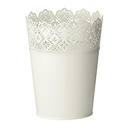 SKURAR plant pot, off-white, off-white in/outdoor Outside diameter: 20 cm Max. diameter flowerpot: 17 cm Height: 25 cm