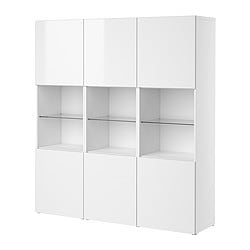BESTÅ storage combination with doors, high-gloss white, white Width: 180 cm Depth: 40 cm Height: 192 cm