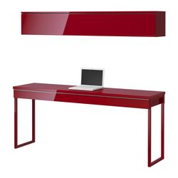 BESTÅ BURS desk combination, high-gloss red Width: 180 cm Depth: 40 cm