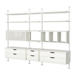 "STOLMEN 3 sections, white Width: 120 1/8 "" Depth: 19 5/8 "" Min. height: 82 5/8 "" Width: 305 cm Depth: 50 cm Min. height: 210 cm"