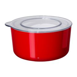 LJUST jar with lid, transparent, red Diameter: 14 cm Height: 7.5 cm Volume: 0.7 l