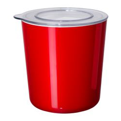 "LJUST jar with lid, transparent, red Diameter: 6 "" Height: 6 "" Volume: 2 qt Diameter: 14 cm Height: 15 cm Volume: 1.5 l"